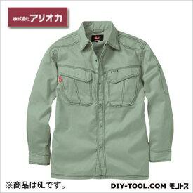 アリオカ 溶接・ 造船 作業着(作業服) 防炎長袖シャツ アースグリーン 6L (MD2020)