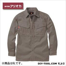 アリオカ 溶接・ 造船 作業着(作業服) 防炎長袖シャツ グレー 6L (MD2020)