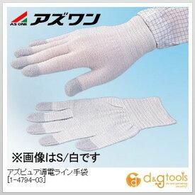 アズワン アズピュア導電ライン手袋 静電対策手袋 緑(手首部) M (1-4794-03) 10双