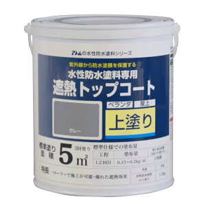 アトムサポート 水性防水塗料専用遮熱トップコート(上塗り) 遮熱グレー 1.5kg 00001-23040