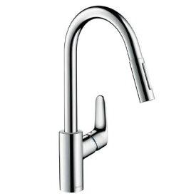 ハンスグローエ フォーカス シングルレバー引出式キッチンシャワー混合水栓 (31815004)