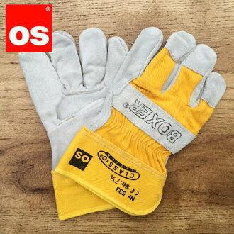 供otoshakuna大人使用的工作手套作业用皮手套黄色L 533095