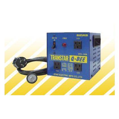 スズキッド ポータブル変圧器(昇圧機能付き) トランスターQ-BEE(トランスターキュービー) 青 (STX-3QB) スズキッド 昇圧降圧変圧器(トランス) SUZKID