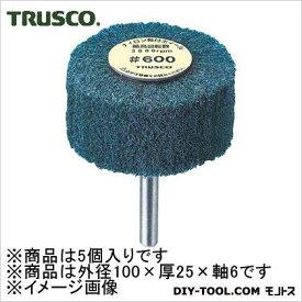 TRUSCO ナイロン軸付ホイール外径100X厚25X軸6600♯(5個入) UFN-1025-600 5 個