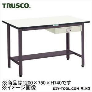 トラスコ 中量500kg作業台鉄天板 薄引出1段 1200×750 AEWS1275UDC1