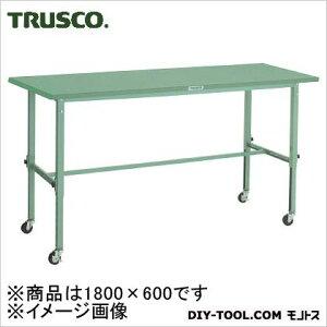 トラスコ 軽量高さ調整作業台φ75車輪付鉄天板 1800×600 SAEM1860C75