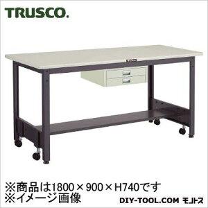 トラスコ 移動式作業台中量鉄天板 薄引出2段 1800×900 CFWS1890UDC2