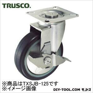 トラスコ(TRUSCO) プレス製省音キャスターゴム車輪・ステンレス金具自在S付Φ125 171 x 122 x 169 mm TXSJB125