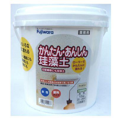 フジワラ化学 ローラーで塗れる かんたんあんしん珪藻土 6坪用 アイボリー 10KG 6220500