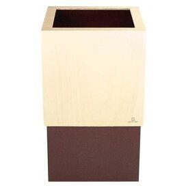 ヤマト工芸 ゴミ箱WCUBE ブラウン 約幅20.0×奥行20.0×高さ33.0(cm) 212687