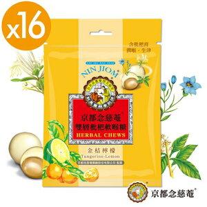 【京都念慈菴】 二重ソフトビワのど飴 天然漢方生薬 キンカンレモン味 37g x 16袋セット