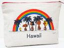 Moni Honolulu モニホノルル【ハワイ限定・Hawaii直輸入】日焼けスヌーピー ポーチHawaii×レインボー