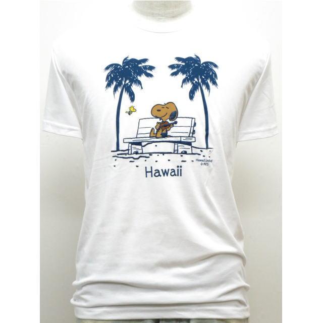 Moni Honolulu モニホノルル【ハワイ限定・Hawaii直輸入】日焼けスヌーピー・メンズTシャツスヌーピー×ウクレレ×ヤシサイズ:S-L・