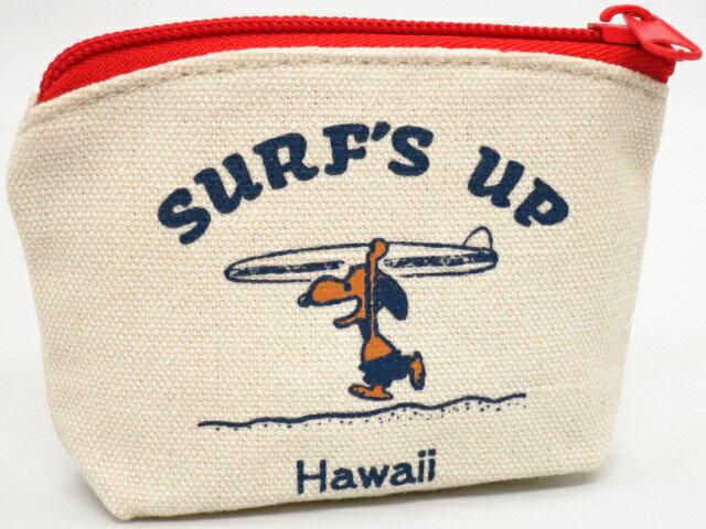 Moni Honolulu モニホノルル【ハワイ限定・Hawaii直輸入】日焼けスヌーピー ポーチ・小銭入れスヌーピー×SURF'S UP×ナチュラル×レッド