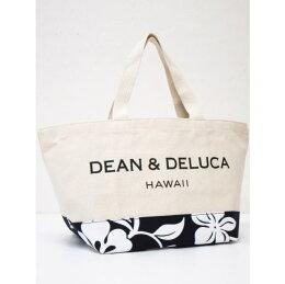 DEAN&DELUCAディーンアンドデルーカ【ハワイ限定】【HAWAII直輸入】ハイビスカス柄トートバックスモールサイズWhite×Black