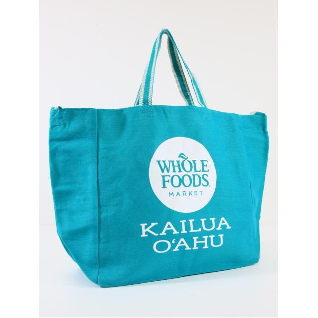 【アウトレット】【ハワイ限定】【HAWAII直輸入】【Whole Foods Market】【ホールフーズマーケット】トートバッグ・エコバッグ・ショッピングバッグTEAL×KAILUA OAHU【返品交換不可】