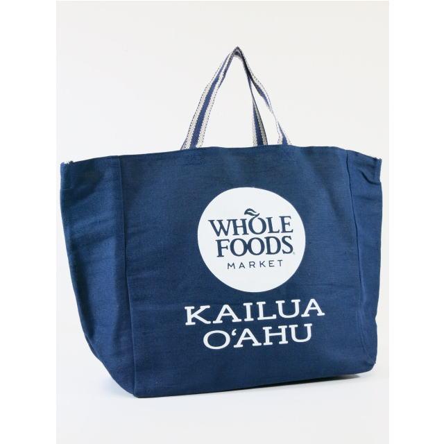 【ハワイ限定】【HAWAII直輸入】【Whole Foods Market】【ホールフーズマーケット】トートバッグ・エコバッグ・ショッピングバッグNAVY×KAILUA OAHU【返品交換不可】