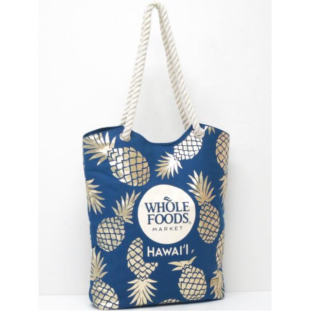 【ハワイ限定】【HAWAII直輸入】【Whole Foods Market】【ホールフーズマーケット】トートバッグ・エコバッグ・ショッピングバッグネイビー×ゴールド×パイナップル【返品交換不可】