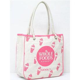 【ハワイ限定】【HAWAII直輸入】【Whole Foods Market】【ホールフーズマーケット】トートバッグ・エコバッグ・ショッピングバッグナチュラル×ピンク×アイスクリーム【返品交換不可】