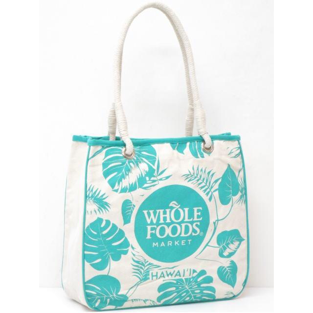 【ハワイ限定】【HAWAII直輸入】【Whole Foods Market】【ホールフーズマーケット】トートバッグ・エコバッグ・ショッピングバッグナチュラル×アクアマリン×モンステラ【返品交換不可】・