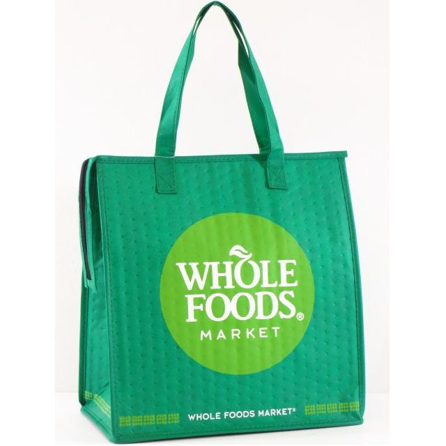 【USA限定】【HAWAII直輸入】【Whole Foods Market】【ホールフーズマーケット】トートバッグ・エコバッグ・ショッピングバッグ・保冷バックグリーン×イエローグリーン×ホワイト【返品交換不可】・