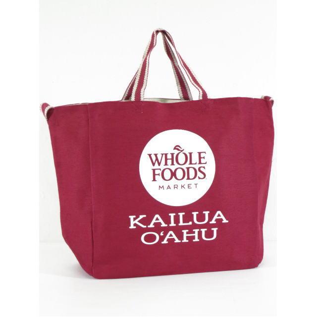Whole Foods Market【ホールフーズマーケット】【ハワイ限定】【HAWAII直輸入】トートバッグ・エコバッグ・ショッピングバッグCranberry×KAILUA O'AHU【返品交換不可】