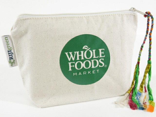 【ハワイ限定】【HAWAII直輸入】【Whole Foods Market】【ホールフーズマーケット】ポーチ・コスメポーチNatural×Green【返品交換不可】
