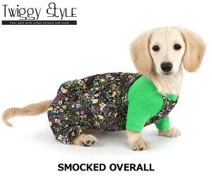 犬 犬服ドッグウェア秋冬シンプル つなぎ 花柄スモックオーバーオールネイビー