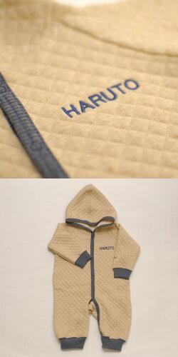お名前刺繍【TwinkleFunnyBaby】オーガニックコットンキルトフード付カバーオール名入れ・ギフト包装込み:日本製