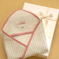 お名前刺繍【TwinkleFunnyBaby】オーガニックコットンキルトアフガン(おくるみ)名入れ・ギフト包装込み:日本製