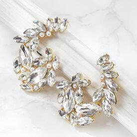 イヤリング ピアス 結婚式 パール アクセサリー パーティー レディース ベルフルールイヤリング 耳飾り フォーマル ウェディング シンプル ボリューム お呼ばれ