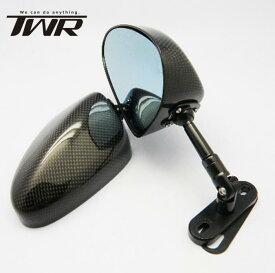 送料無料 TWR製 SIMOTA OEM生産 オーバルカーボンミラー 90mmステム カウル用 Mサイズ CBR900RR カーボンミラー 防眩 ブルーレンズ GSX−R1100 FZR1000