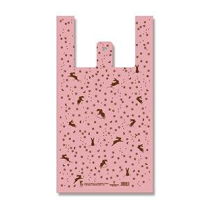 バイオハンドハイパー L 花うさぎ桃 100枚入×5(500枚) レジバッグ ビニール袋 手さげ袋 ハンガータイプ ポリ袋