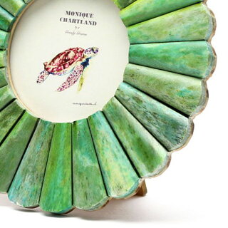 フォトフレーム写真立てアンティーク木製おしゃれ丸型円形壁掛け葉書ハガキ卓上ボーンフレーム骨GoodyGramsPHOTOFRAMELUCKNOWEMERALDGREEN