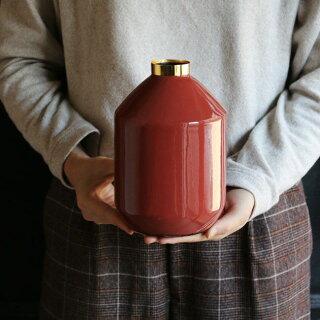 MONIQUECHARTLAND/ENAMELVASE01ドライフラワー用フラワーベース枝物置物オブジェドライフラワーおしゃれかわいい金属インテリア雑貨一輪挿し割れないオレンジレッド赤