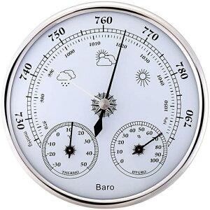 気圧計 温度計 ウェザーステーション用 アナログ 式 壁掛け トリプルメーター 気圧計 温度計 湿度計 サーモ バロメーター 測定 管理