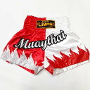 LUMPINI 38 サテン ボクシング パンツ 赤白MUAY炎 /ムエタイ/キックボクシング/トランクス/大人用