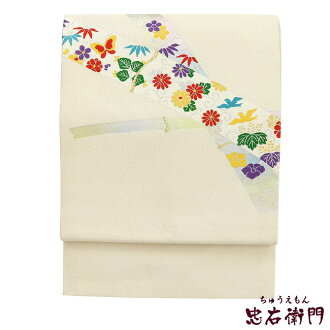 It is tailored, and be spelled, and 9 sun of Nagoya style sash recycling silver bamboo chrysanthemum arabesque butterfly bird paulownias support Nagoya style sash used pure silk fabrics
