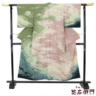 Visiting dress used pure silk fabrics tie-dyeing style kimono four circle formal dress wedding ceremony recycling lined kimono purple green 木々金彩 best recommended used goods reuse