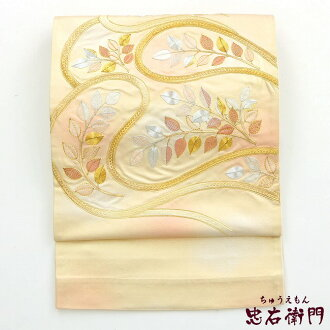 Double-woven obi recycling gold piece embroidery leaf braid non-used reuse for the double-woven obi used pure silk fabrics pure silk fabrics double-woven obi formal dress made by