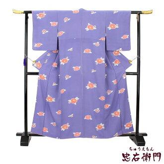 Fine pattern used pure silk fabrics recycling fine pattern kimono lined kimono purple camellia used reuse