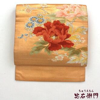 Nagoya style sash used pure silk fabrics 9 sun Nagoya style sash recycling gold embroidery peony used reuse
