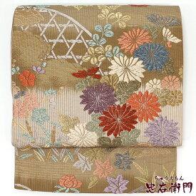 【中古】 袋帯 リサイクル 正絹 レディース フォーマル 唐織 カーキ 秋草 長さ427cm 幅31cm