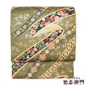【中古】 袋帯 リサイクル 正絹 レディース フォーマル 礼装用 六通柄 グリーン 長さ426cm 幅30.5cm