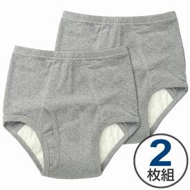 2枚組 吸水ブリーフ 50cc グレー 2枚組 M L LL 日本製 スピード吸収 抗菌消臭 男性用 中失禁 失禁パンツ メンズ 尿漏れパンツ
