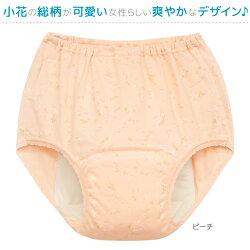婦人日本製スピード吸収&消臭安心ショーツ小花柄腰ゴムタイプ大容量150cc対応2枚組