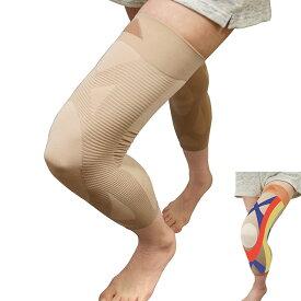 [アウトレット 1000円] 薄くて長い ひざ楽ロングサポーター 左右共通2本組 日本製 アウターに響かず自然に履ける 関節 膝痛 膝関節 ひざ ブラック 男女兼用