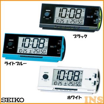 電波目覚まし時計セイコーNR534K・NR534L・NR534Wブラック・ライトブルー・ホワイト【TC】【HD】(時計/ブランド/置時計/アラーム/新生活/卓上)