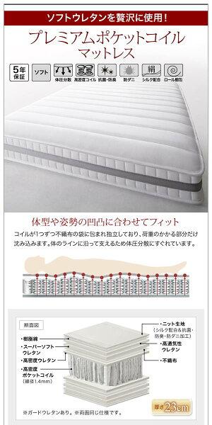 棚・コンセント付きデザインすのこベッドCamilleカミーユプレミアムボンネルコイルマットレス付きダブル