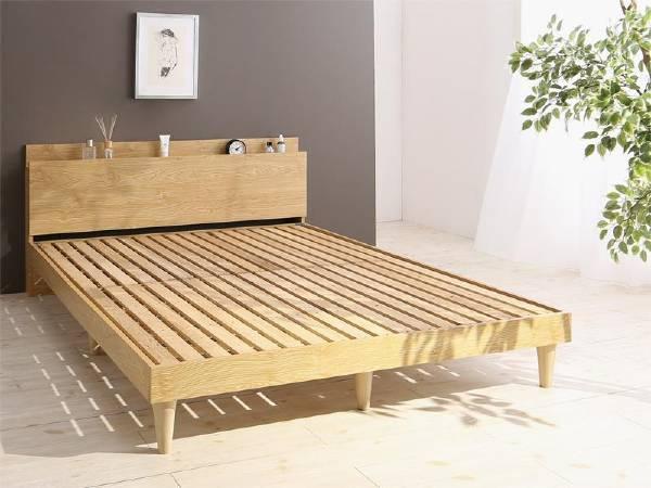 (UF) 棚・コンセント付きデザインすのこベッド Camille カミーユ ベッドフレームのみ セミダブル (UF1)